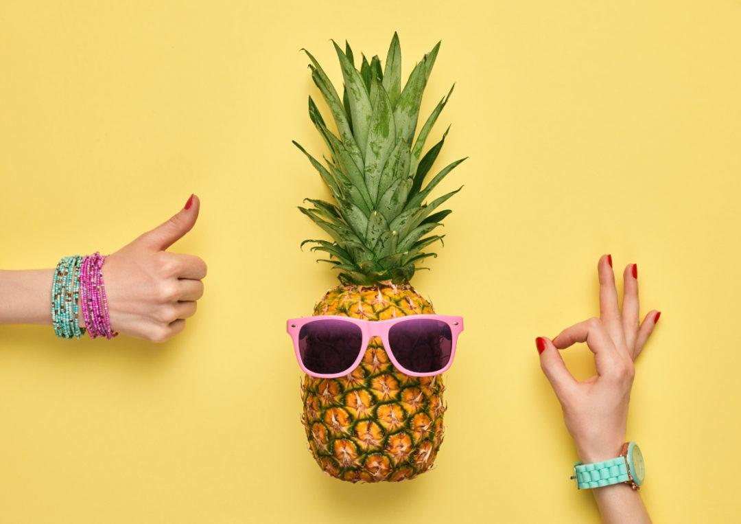 Ananas op de foto in een photobooth